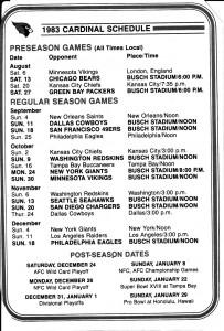 Cardinals 1983 Schedule